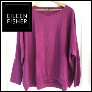 Eileen Fisher Raspberry 100% Merino Wool Sweater.